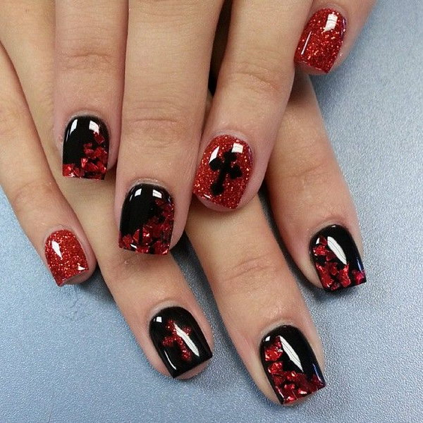 Glittery Red and Black Nail Art Design.