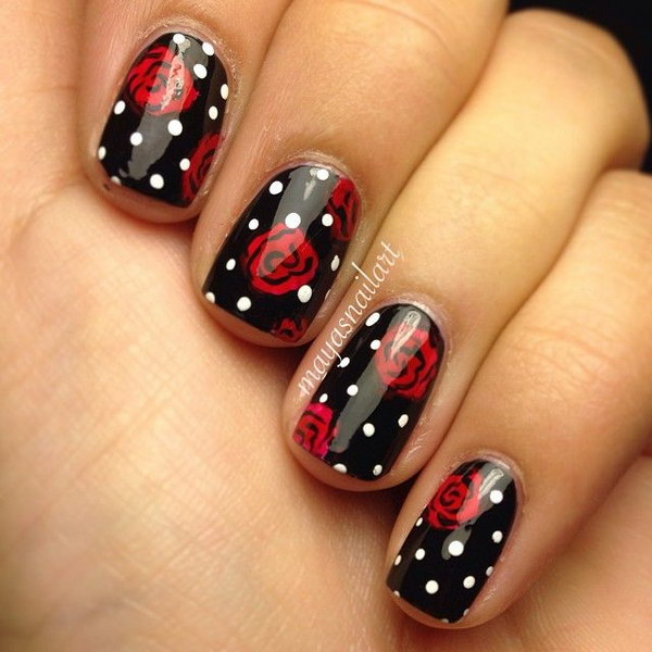 Rose and Dots Nail Design.