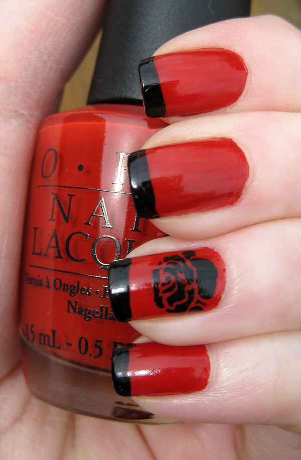 Red and Black Tipped Nail with Black Rose.