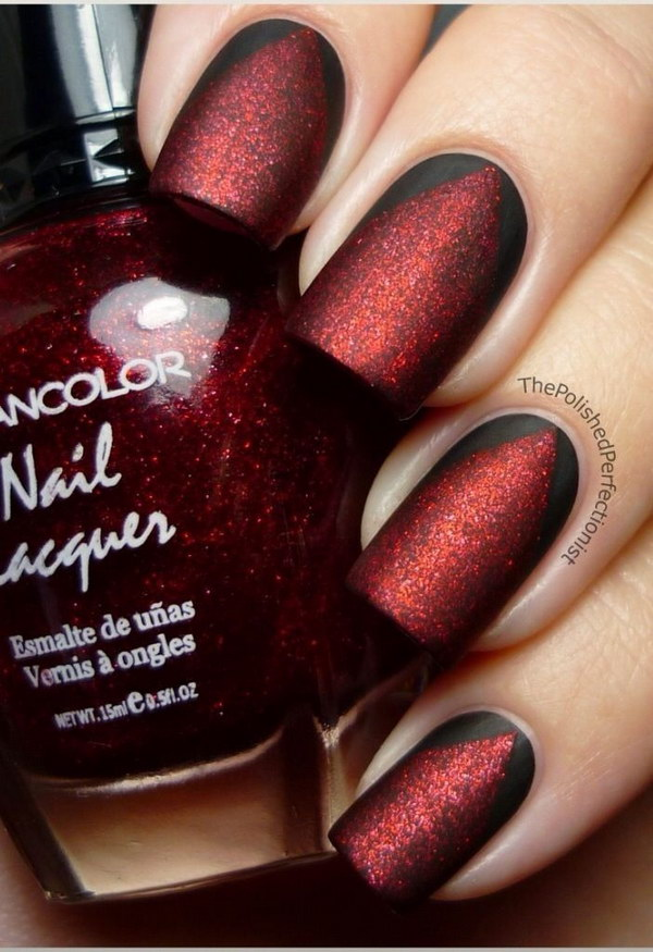 Matte Red and Black Nail Art.