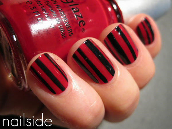 Black and Red Striped Nails.