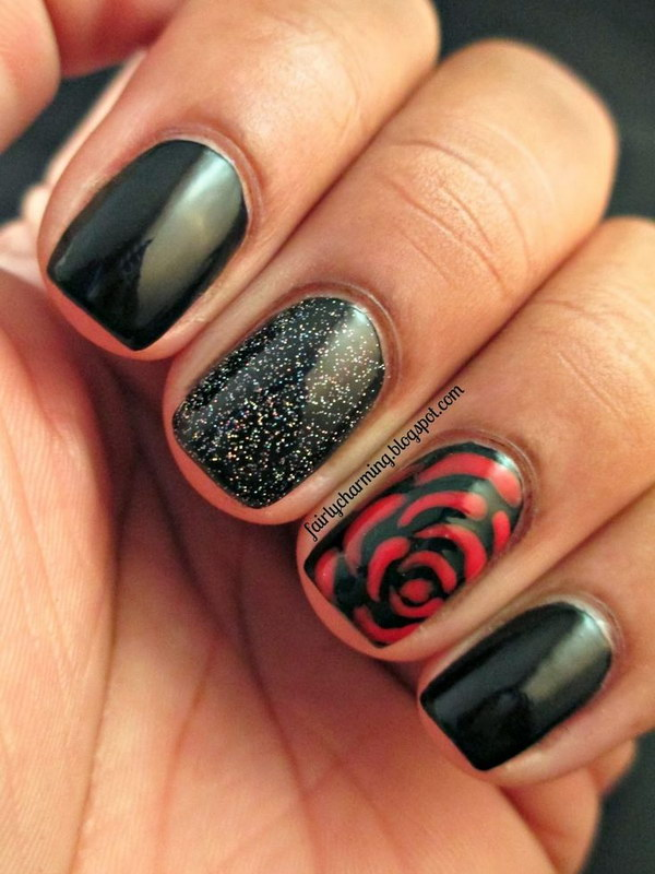 red rose nail design ideas