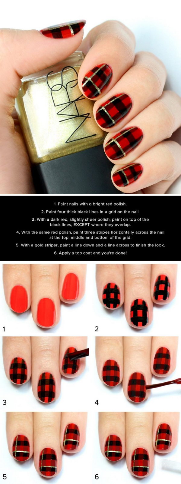 Black and Red Plaid Print Nail.