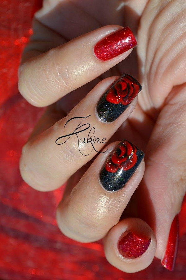 Black And Red Rose Nail Art Design