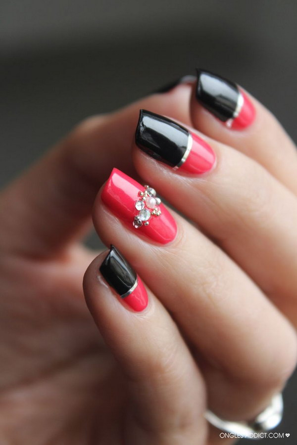 45 stylish red and black nail designs 2017 striping strass nail art prinsesfo Images
