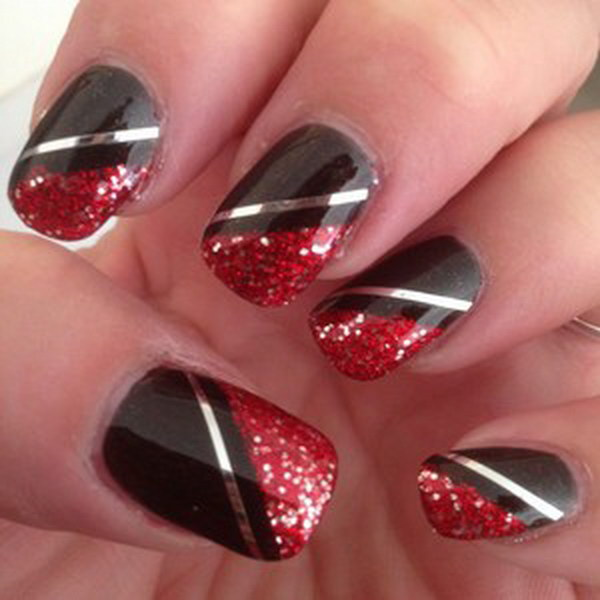 Red & Black Silver Striped Nail Design.