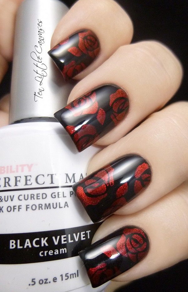 Black With Red Roses Manicure