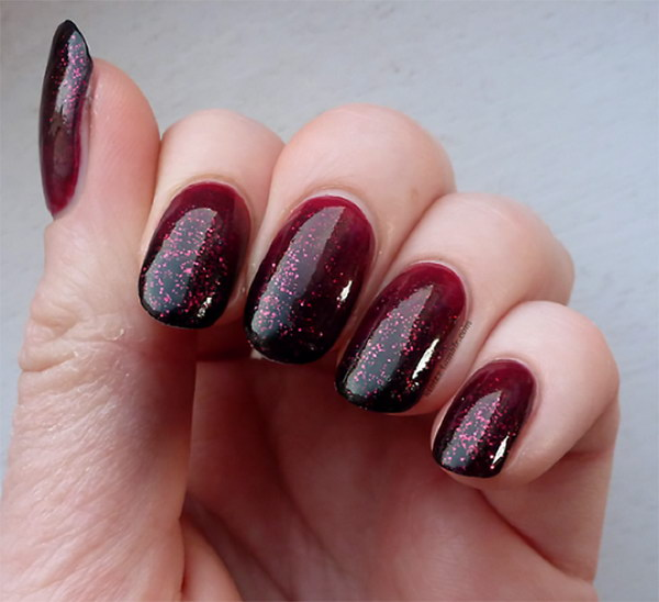 Ombre & Glitter Nail Art Design - 45+ Stylish Red And Black Nail Designs 2017