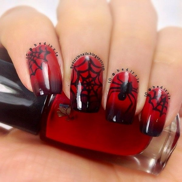 45 stylish red and black nail designs 2017 spider and web halloween nail design prinsesfo Gallery