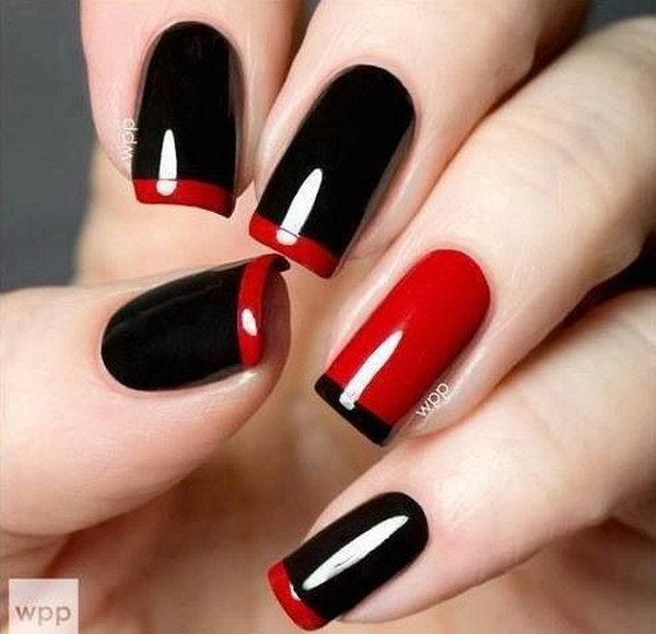 Red and Black French Tip Nail Design.