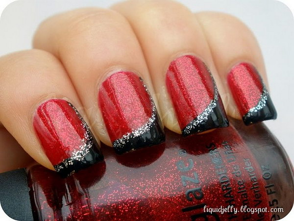 Red and Black with Silver Glitter - 45+ Stylish Red And Black Nail Designs 2017