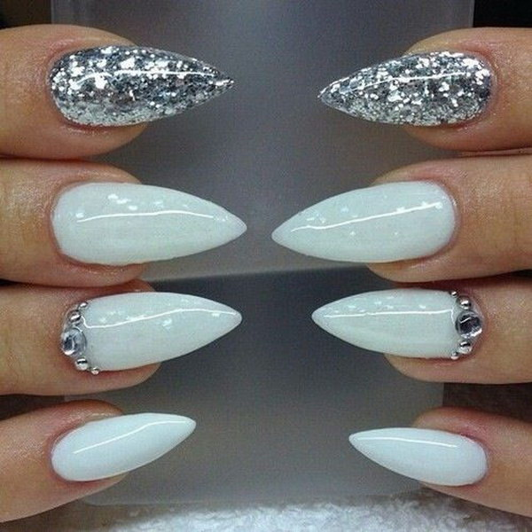 White And Silver Glitter Stiletto Nail Design