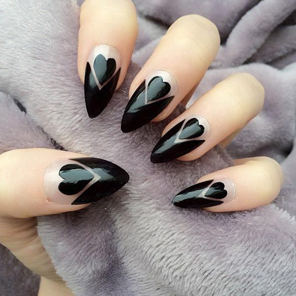 Black Hearts & Negative Space Stiletto Nails.