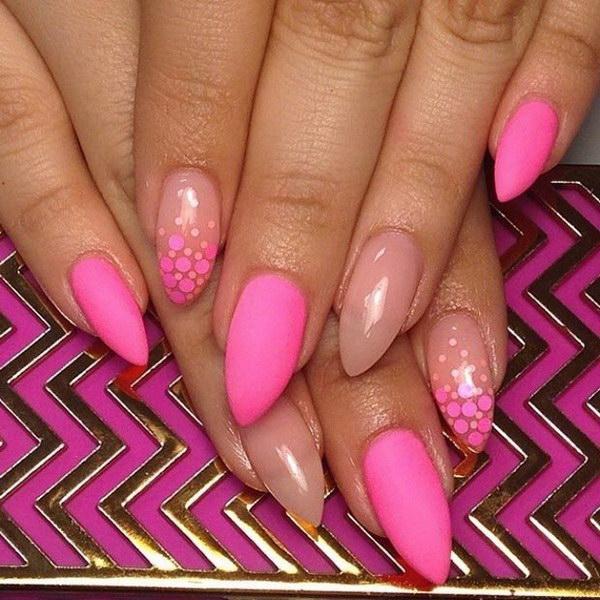 Matte Neon Pink & Nude Nail Design.