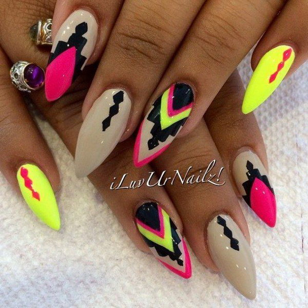 Neon Tribal & Stiletto Nail Design.