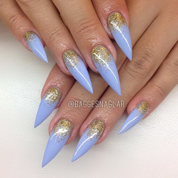Baby Blue Glitter Half Moon Stiletto Nails.