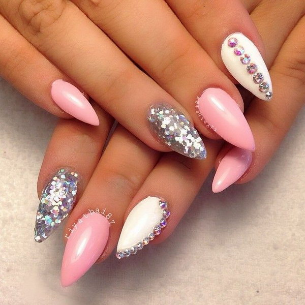Studded Pink Stiletto Nail Art Design - 35+ Fearless Stiletto Nail Art Designs 2017