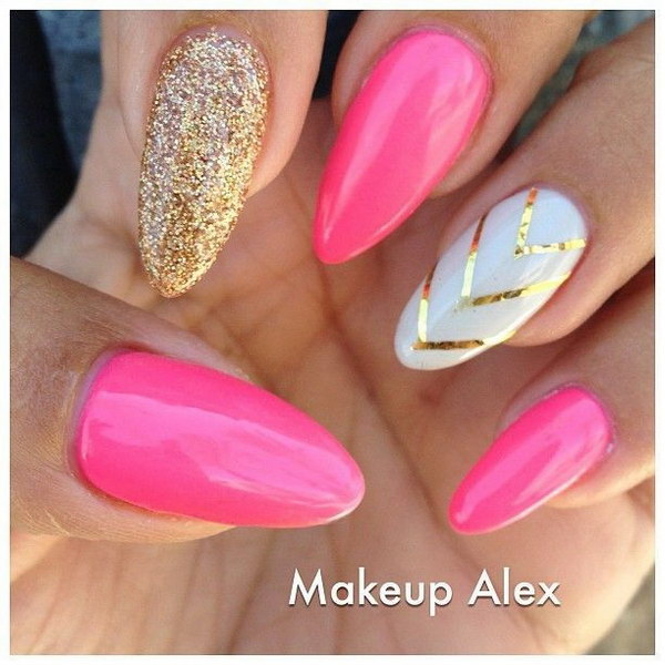 Pink and Gold Glitter Stiletto Nails.