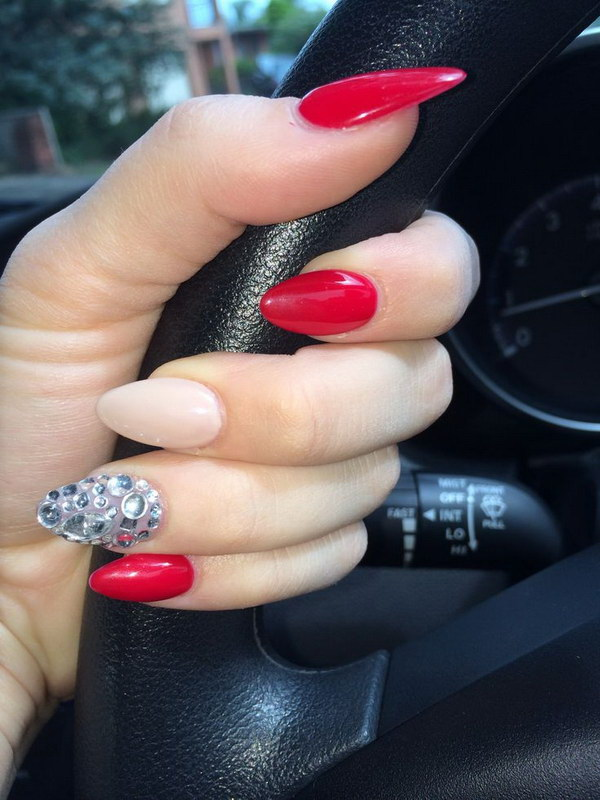 Solid Nude With Hot Red And Rhinestones Stilleto Nails