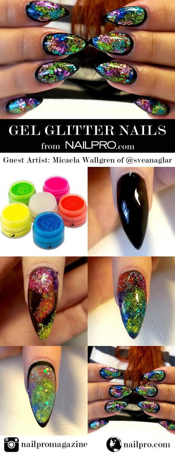 Glittery Gel Stiletto Nail Design.