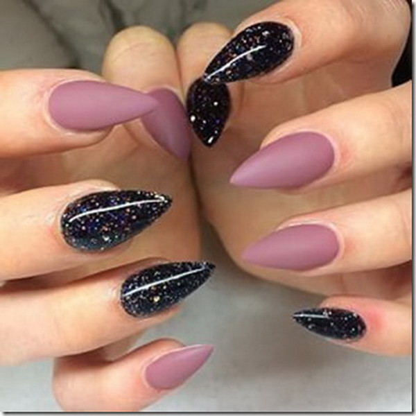 Black Galaxy Polish with Matte Mauve Stiletto Nails - 35+ Fearless Stiletto Nail Art Designs 2017