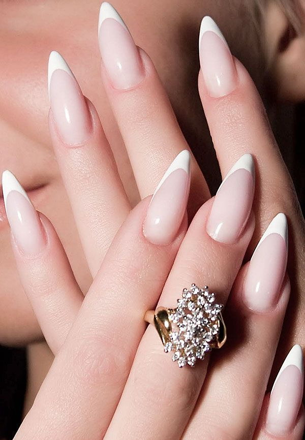 White Tipped Stiletto French Nails.