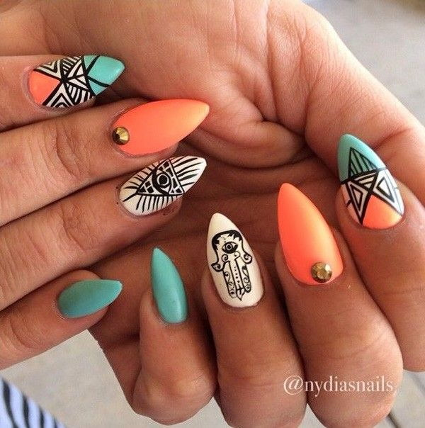 Tribal Inspired Stiletto Nails.