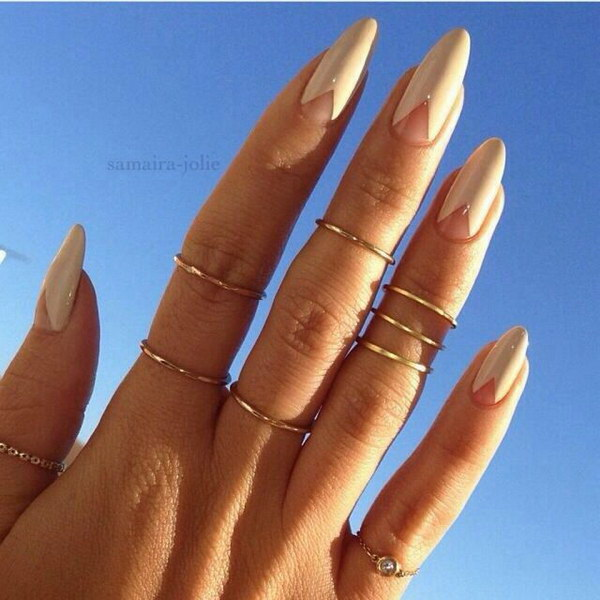 Stiletto Nails with Pyramid Base.