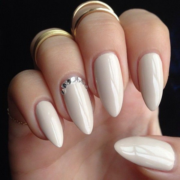 Beige Stilettos with Crystal Accent Nail.