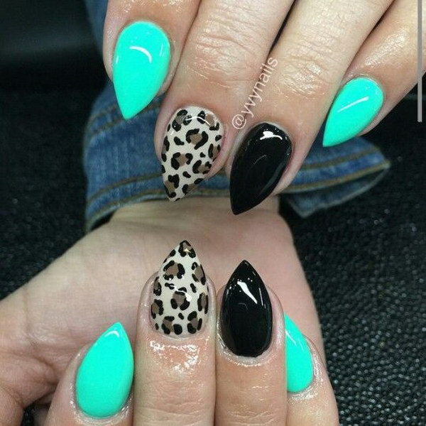 Teal Blue, Black, and Leopard Short Stiletto Nails.