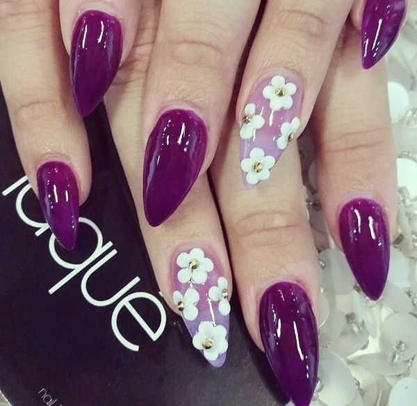 Purple and Flowal Pointed Nail Design.