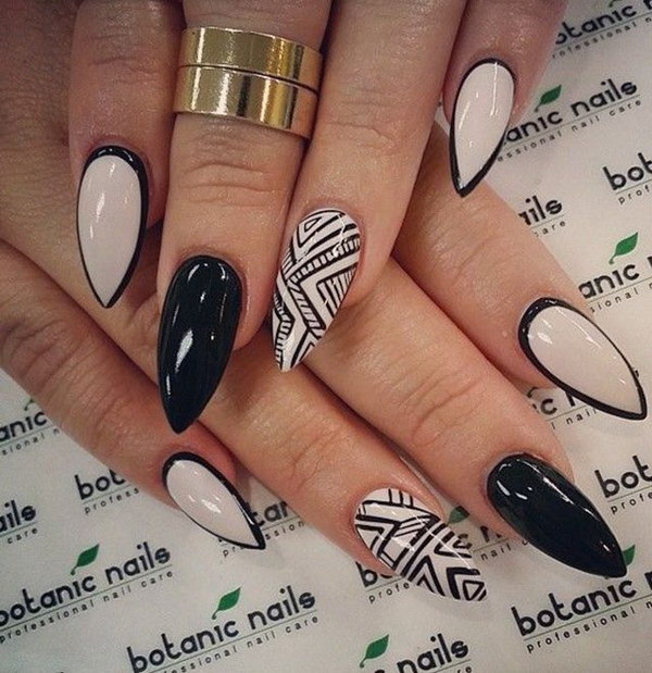 Nude & Black Tribal Inspired Stiletto Nail Design.