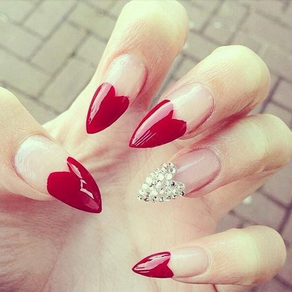Red Heart Tip Stiletto Nails.