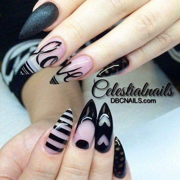 Black and Clear Stiletto Nails with Heart, Love, Strips.