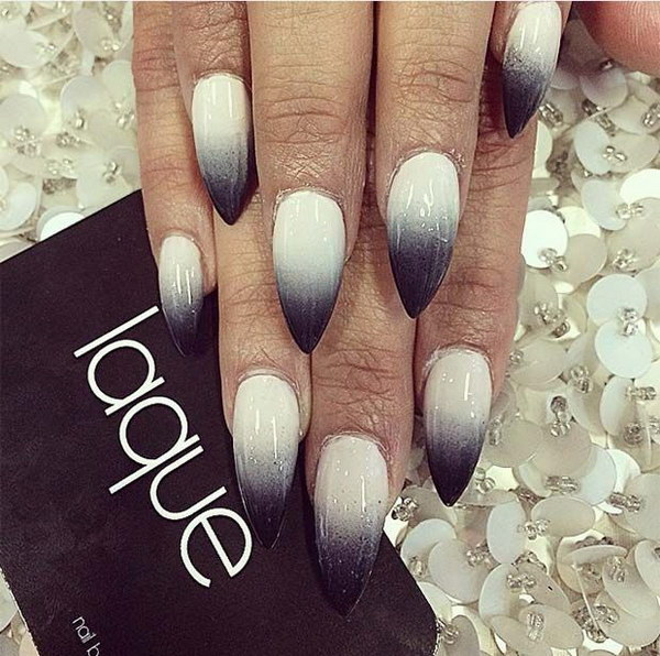 Stiletto Black and White Ombre Nails.