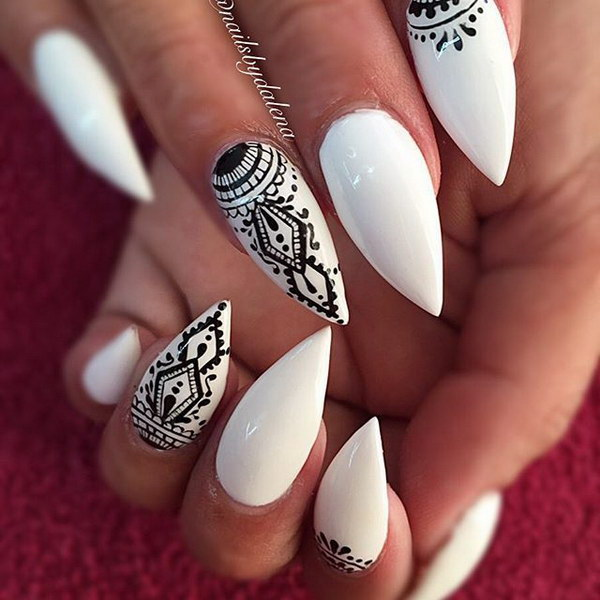 Black & White Patterned Stiletto Nail Design - 35+ Fearless Stiletto Nail Art Designs 2017