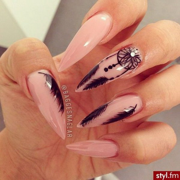 Stiletto Nail Art Design with Dreamcatcher and Feather - 35+ Fearless Stiletto Nail Art Designs 2017