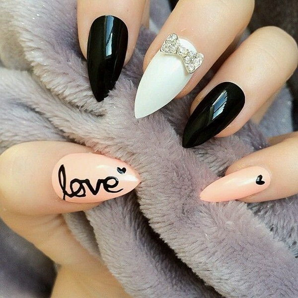 Pointy Nails Accented with love= - 35+ Fearless Stiletto Nail Art Designs 2017