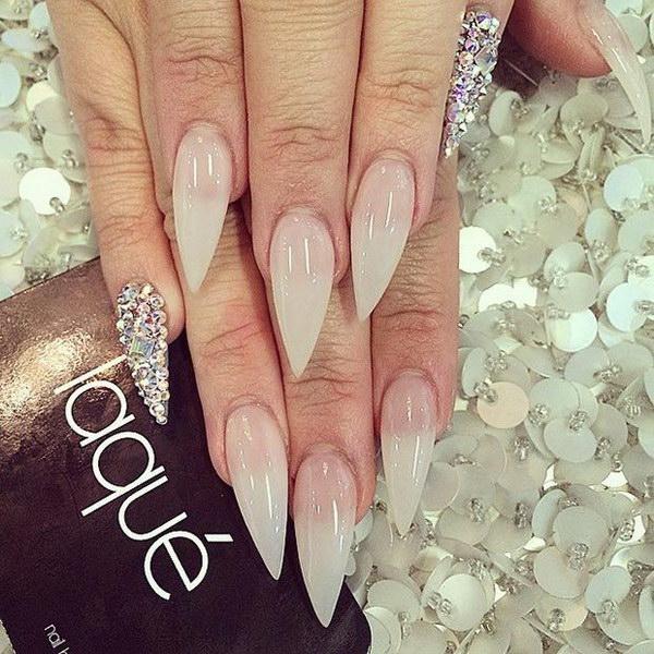 Nude & Rhinestone Pinkie Accent Stiletto Nail Design.