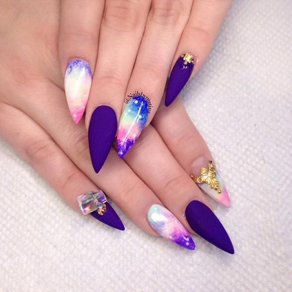 35 fearless stiletto nail art designs 2017 galaxy stiletto nail design prinsesfo Gallery