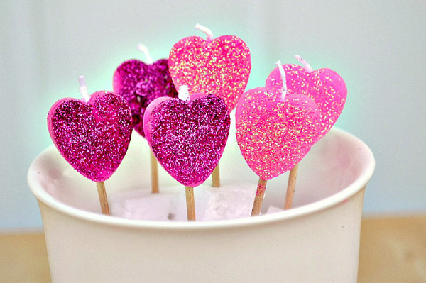 Heart Shaped Lollipop Candles