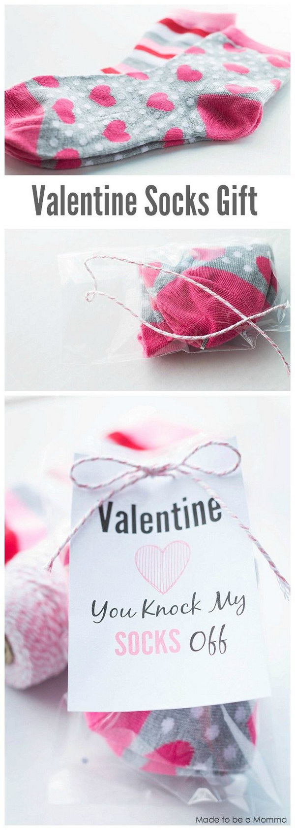 Valentine Socks Gift Idea with Free Printable