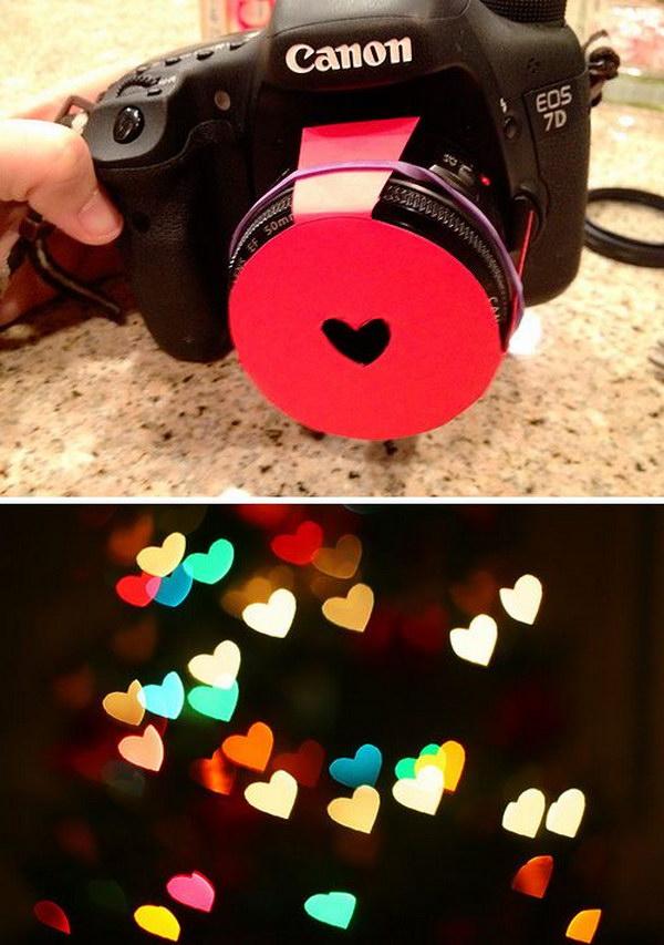 Valentine's Day Photography DIY : Hearts Bokeh Lens Hood