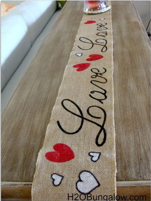 Cute Valentines Day Decor   Burlap 'Love' Table Runner.