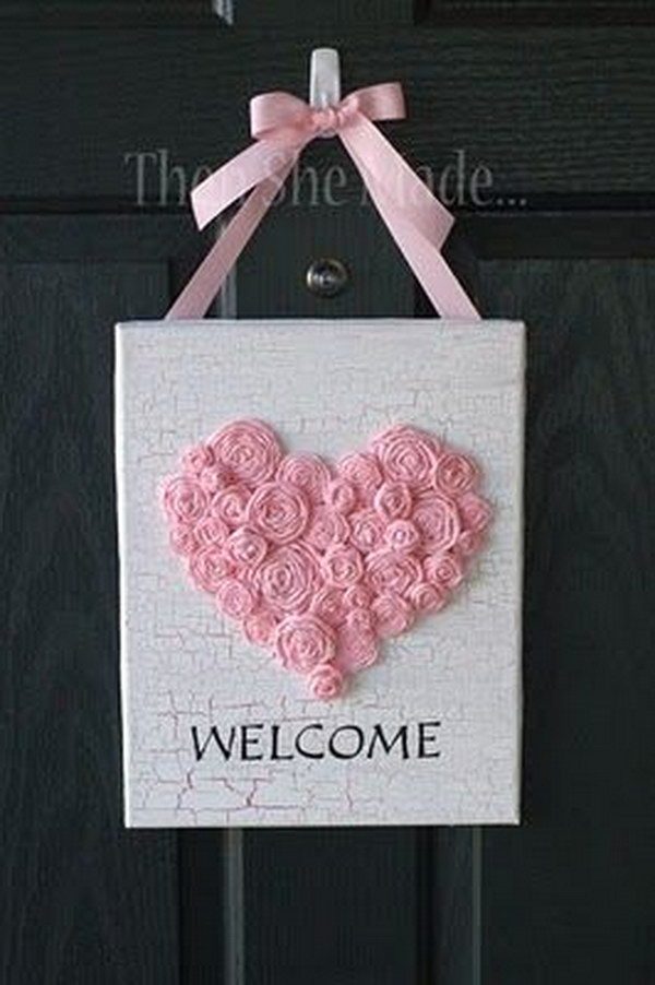 Framed Heart on Burlap Valentines Day Door Decor