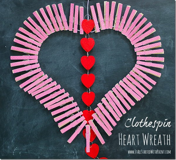 Adorable Clothespin Heart Wreath