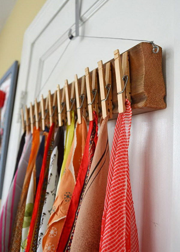 Clothes Pin Scarf Hanger.