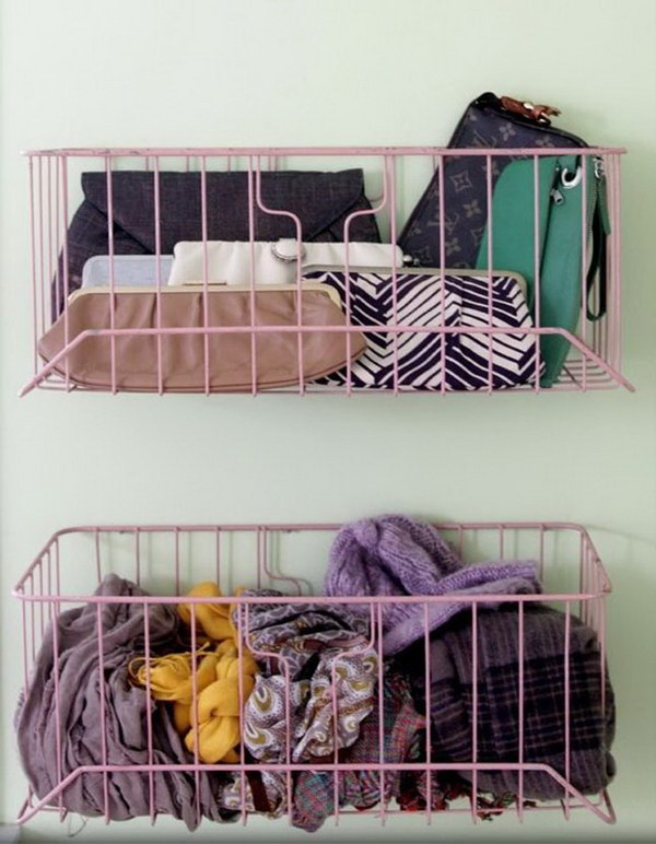 Wire Baskets as Storage Idea.