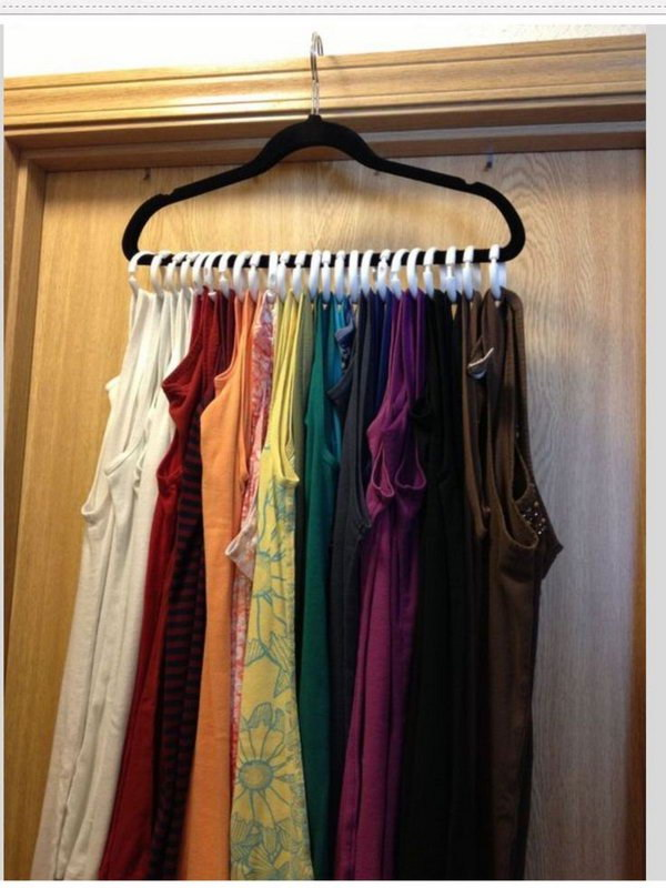 Tank Tops Storage and Organization with Shower Curtains Rings and a Velvet Hanger.