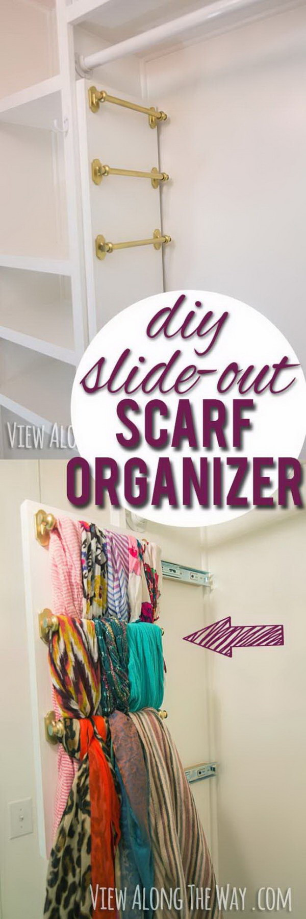 DIY Slide Out Scarf And Belt Organizers.